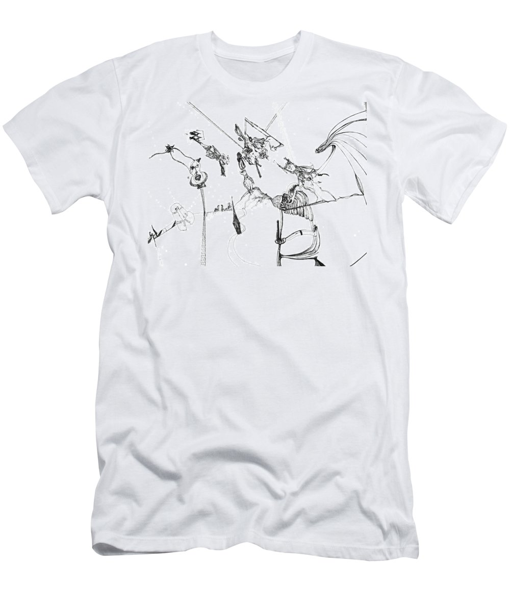 Pen Ink Men's T-Shirt (Athletic Fit) featuring the drawing Dreaming 1 by Michael Mooney
