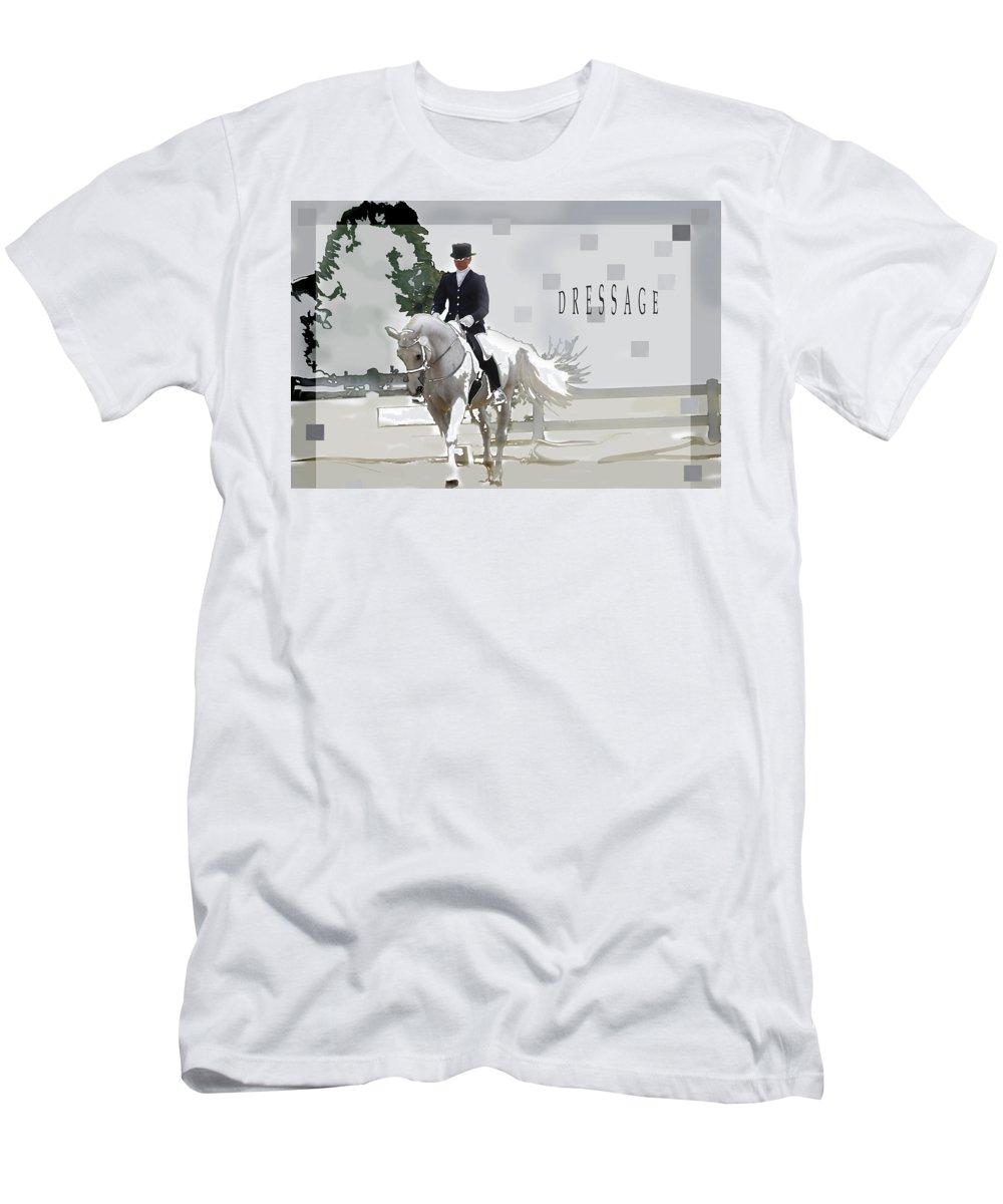 Jenny Gandert Men's T-Shirt (Athletic Fit) featuring the digital art Dressage by Jenny Gandert