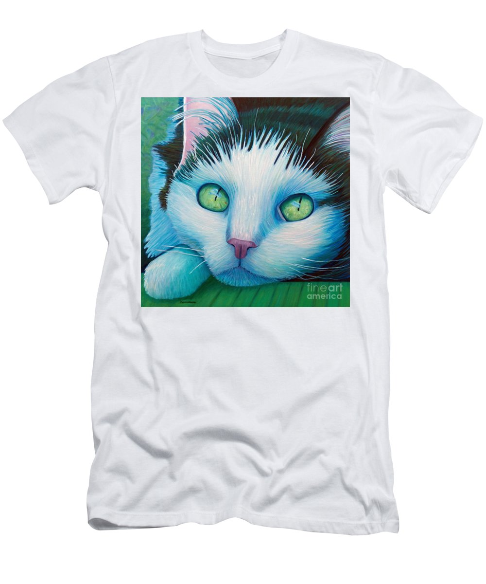 Cat Men's T-Shirt (Athletic Fit) featuring the painting Drifting by Brian Commerford