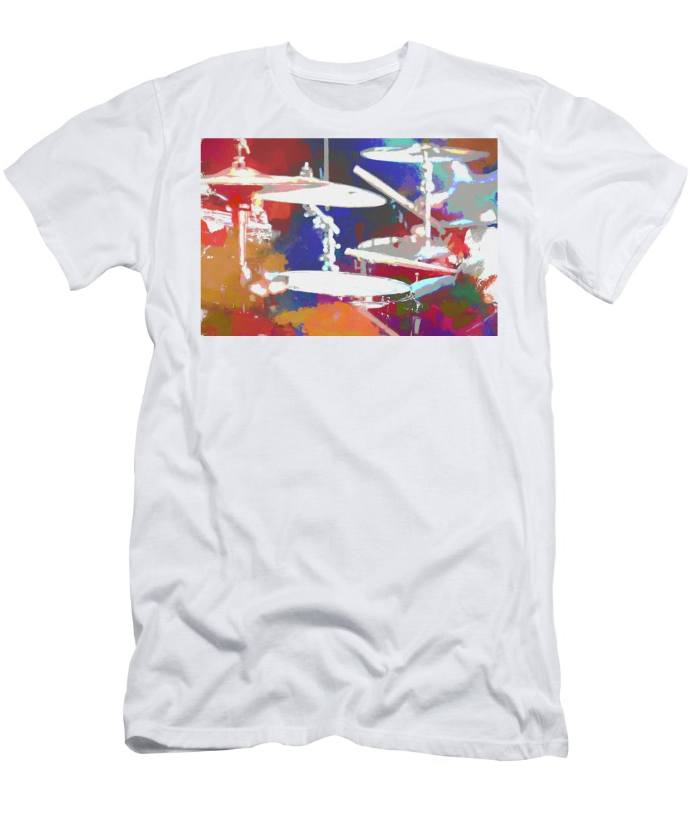 Colorful Drum Set T-Shirt featuring the mixed media Drummer by Dan Sproul