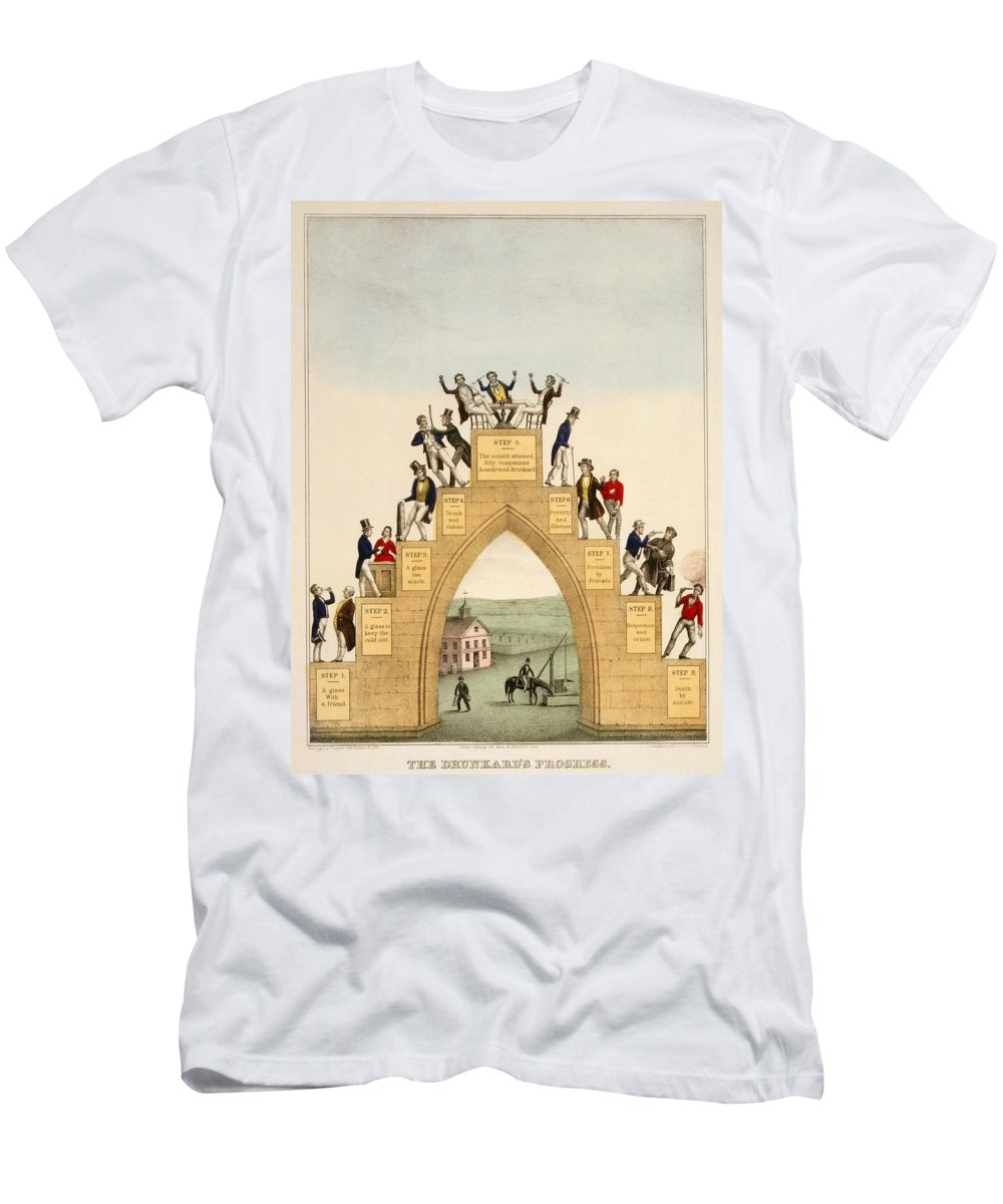 1846 Men's T-Shirt (Athletic Fit) featuring the photograph Drunkards Progress, 1846 by Granger