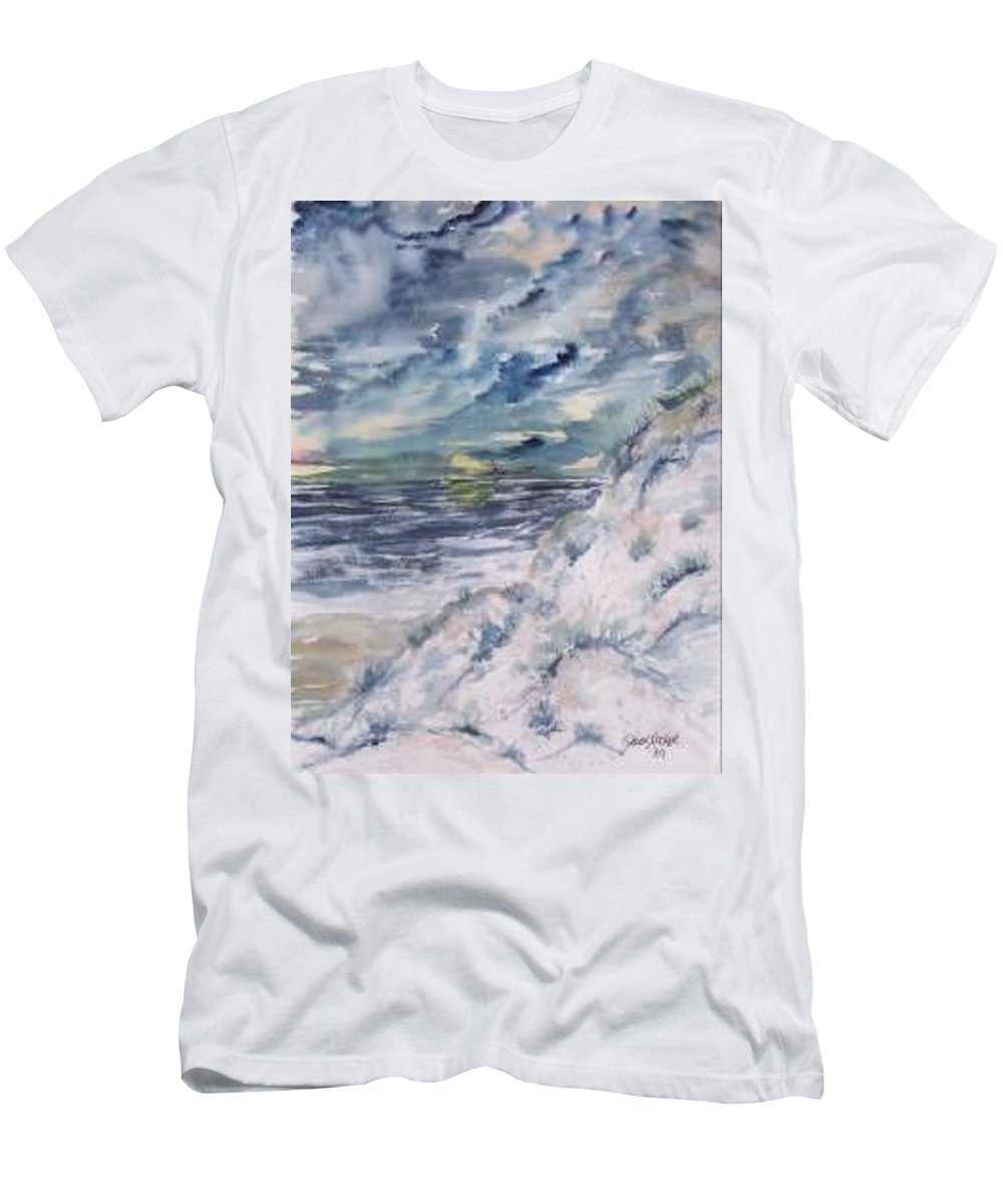 Seascape T-Shirt featuring the painting Dunes 2 seascape painting poster print by Derek Mccrea