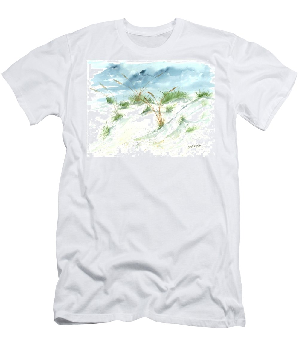 Beach Men's T-Shirt (Athletic Fit) featuring the painting Dunes 3 Seascape Beach Painting Print by Derek Mccrea