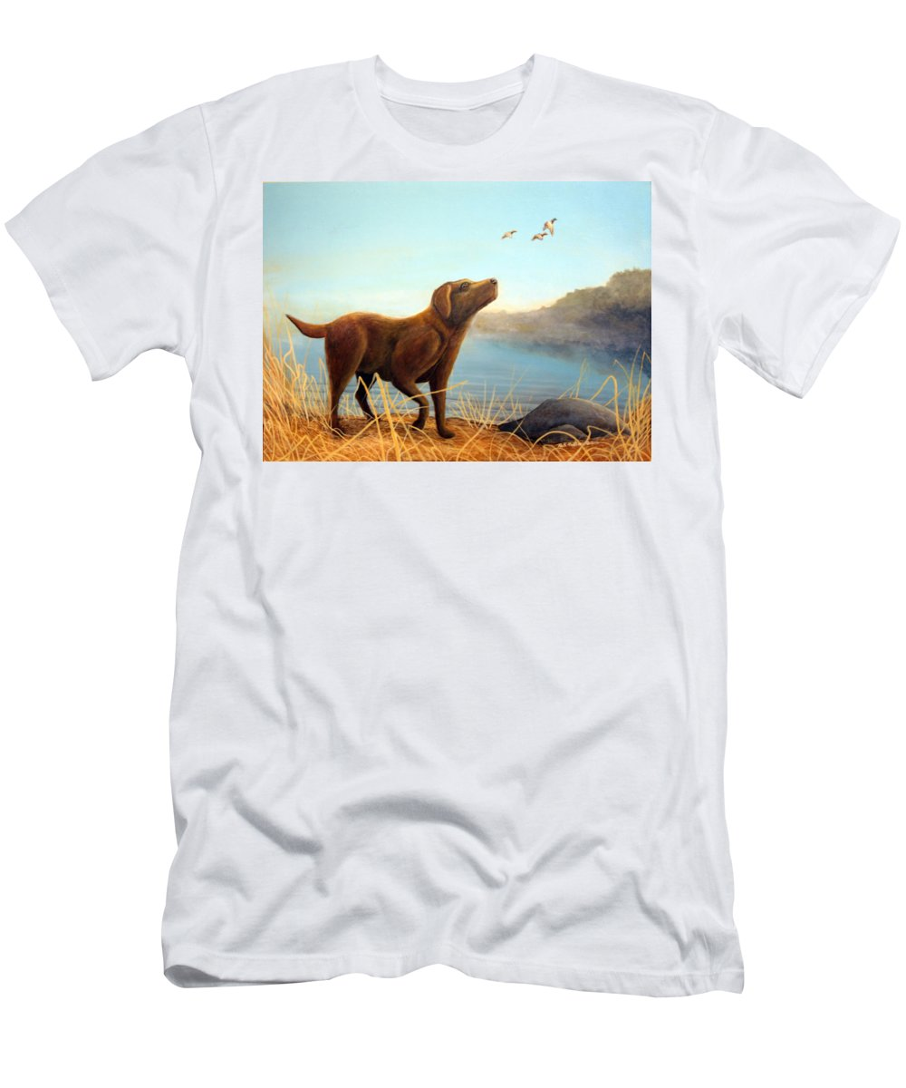 Chocolate Lab Painting Men's T-Shirt (Athletic Fit) featuring the Dutch by Rick Huotari