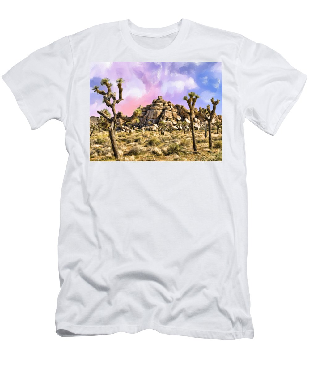 Early Morning Men's T-Shirt (Athletic Fit) featuring the painting Early Morning In Joshua Tree by Dominic Piperata