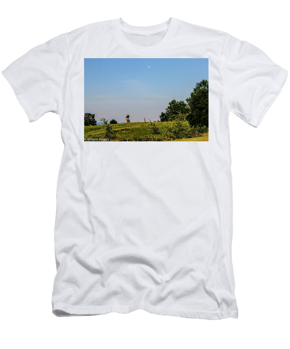 This Is A Photo At Sunrise Of The Early Morning Moon Over The Gettysburg Battlefield Men's T-Shirt (Athletic Fit) featuring the photograph Early Morning Moon by William Rogers