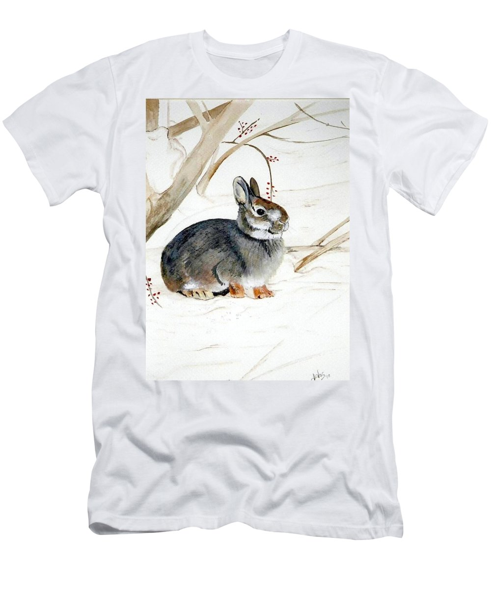 Rabbit Men's T-Shirt (Athletic Fit) featuring the painting Early Snow by Debra Sandstrom
