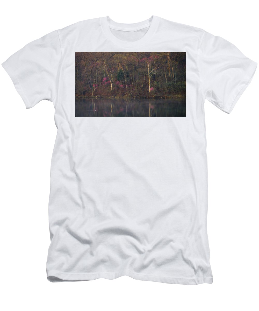 Nature Men's T-Shirt (Athletic Fit) featuring the photograph Early Spring Lake Shore by Jeff Phillippi