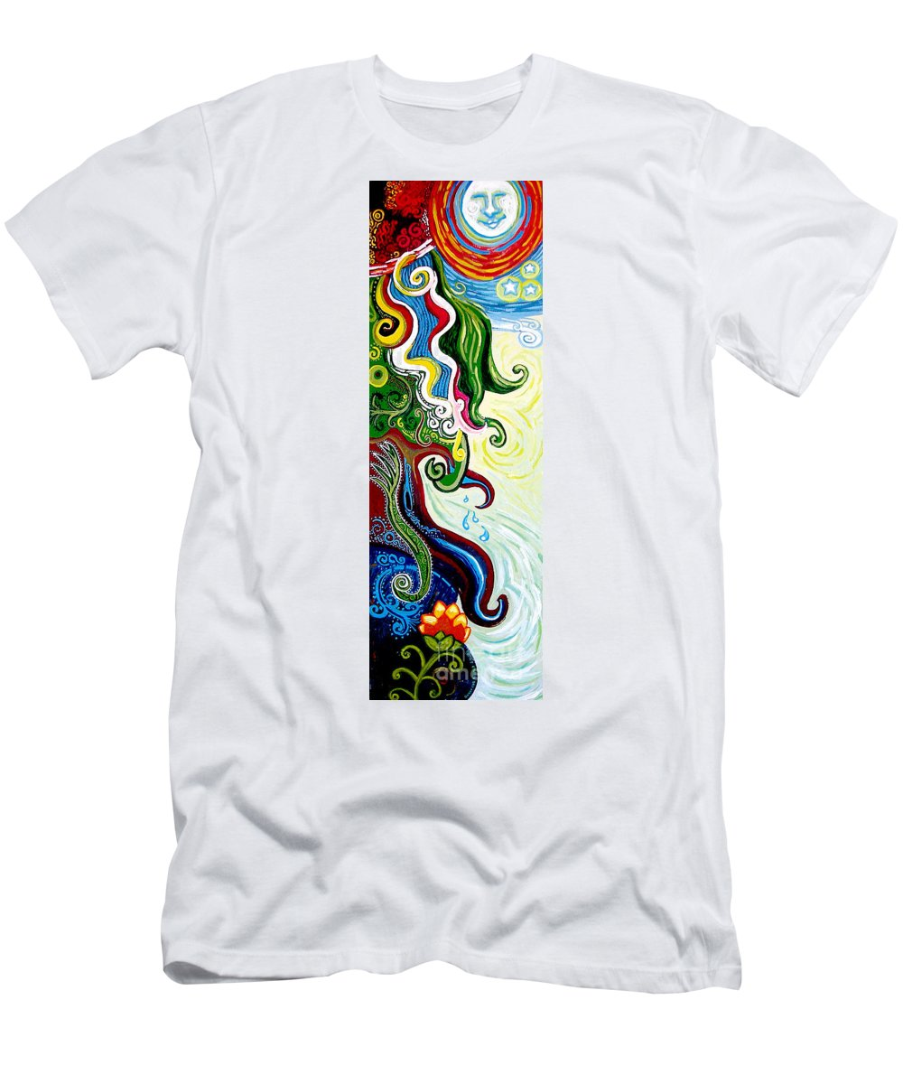 Mother Earth Men's T-Shirt (Athletic Fit) featuring the painting Earths Tears by Genevieve Esson