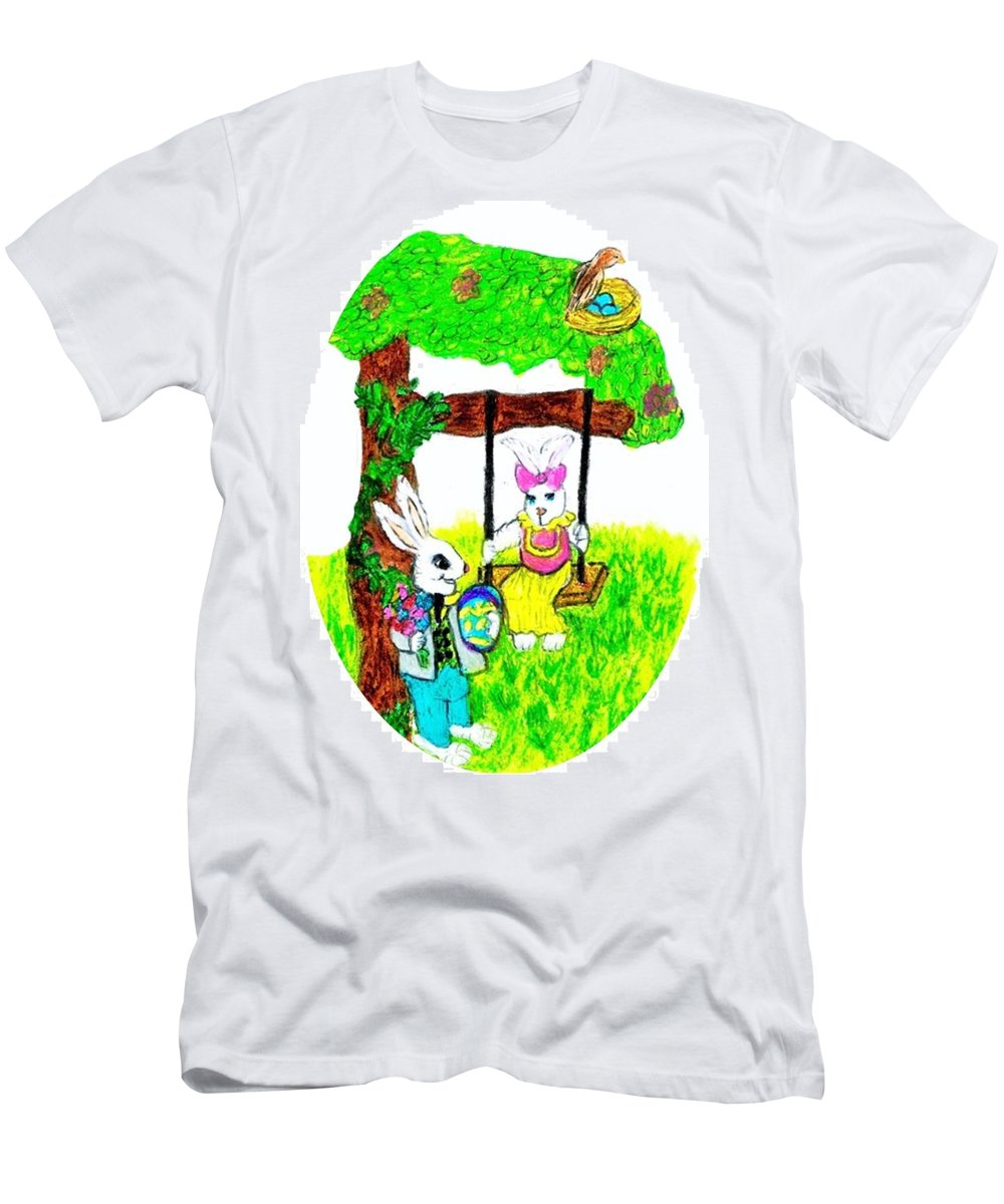 Easter Men's T-Shirt (Athletic Fit) featuring the pastel Easter Show Some Bunny Love by Jo-Ann Hayden