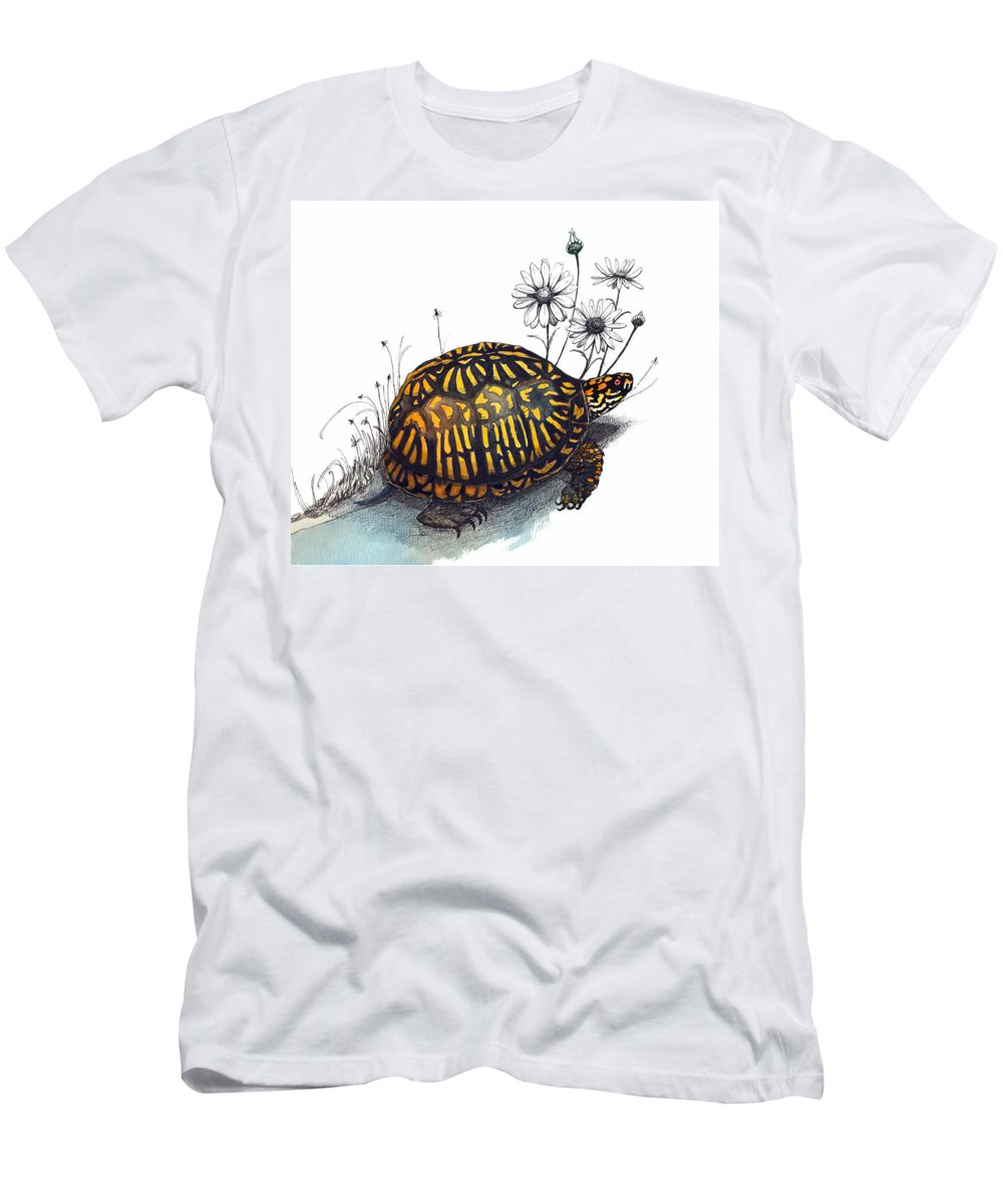 Eastern Box Turte Men's T-Shirt (Athletic Fit) featuring the drawing Eastern Box Turtle by Katherine Miller