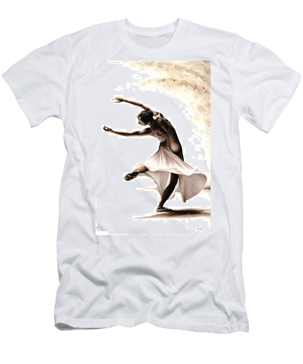 Dancer Men's T-Shirt (Athletic Fit) featuring the painting Eclectic Dancer by Richard Young