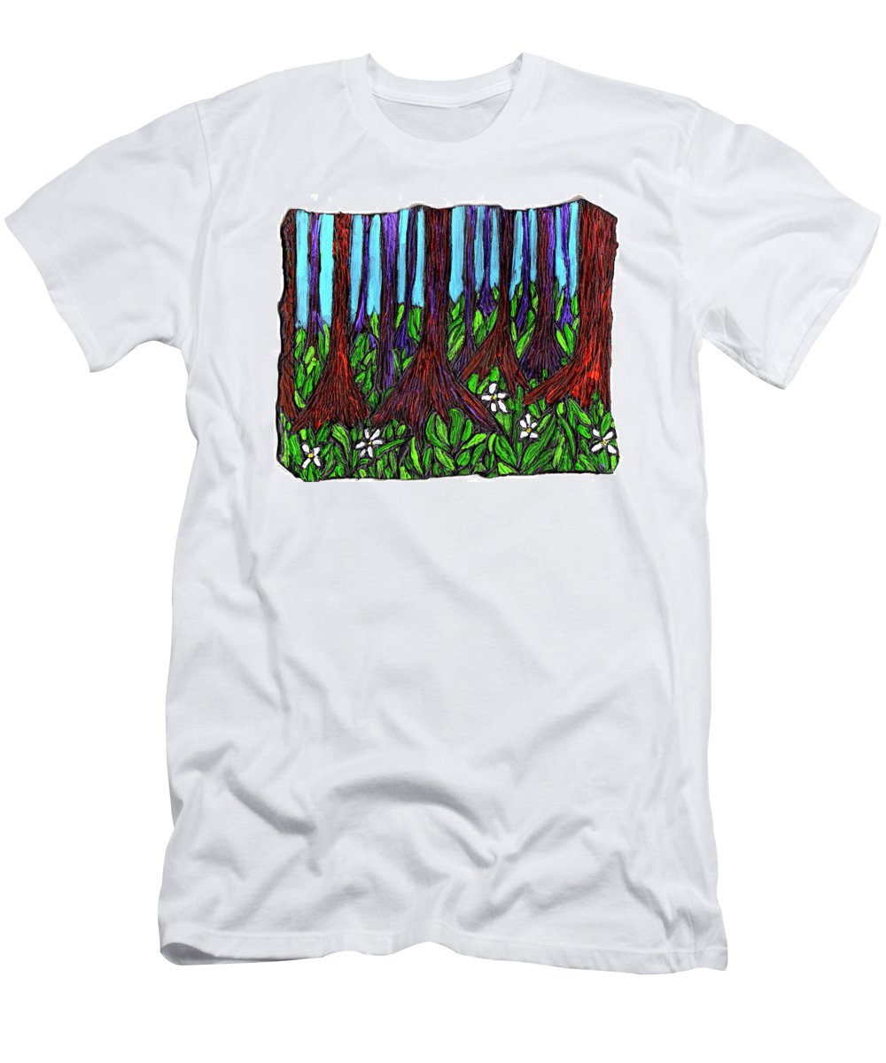 Trees Men's T-Shirt (Athletic Fit) featuring the painting Edge Of The Swamp by Wayne Potrafka