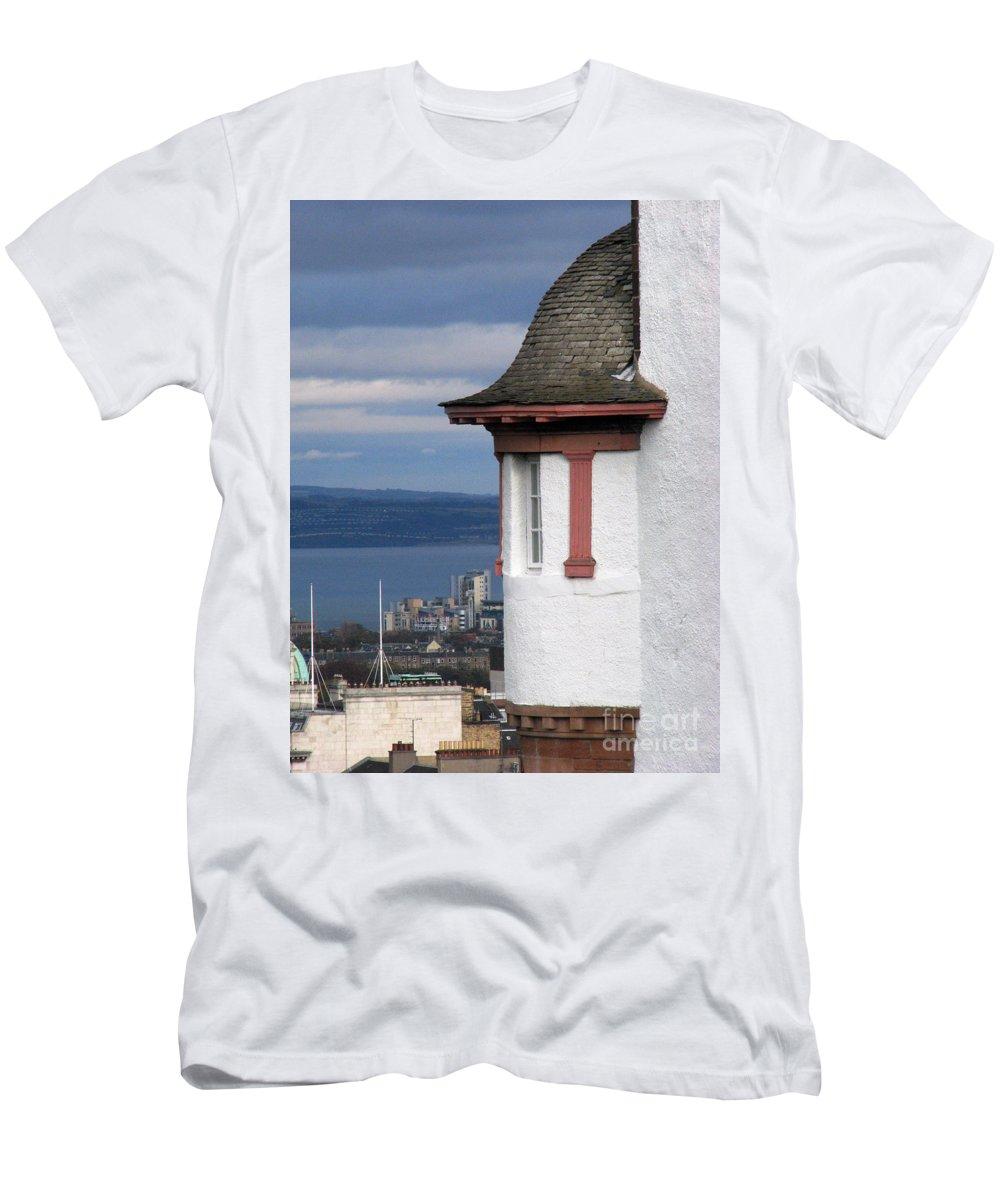 Scotland Men's T-Shirt (Athletic Fit) featuring the digital art Edinburgh Scotland by Amanda Barcon