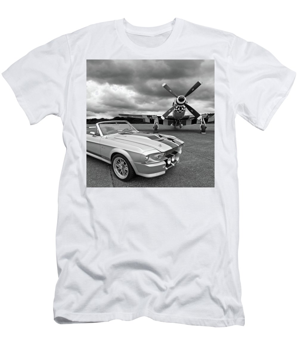 Old Ford Mustang Men's T-Shirt (Athletic Fit) featuring the photograph Eleanor Mustang With P51 Black And White by Gill Billington