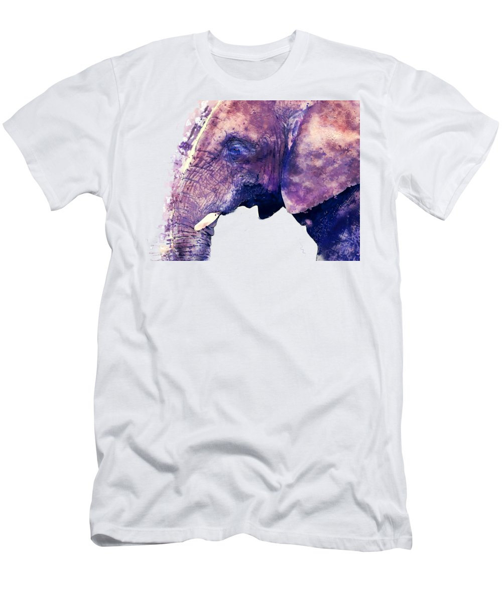 Elephant Men's T-Shirt (Athletic Fit) featuring the painting Elephant Watercolor Painting by Justyna JBJart