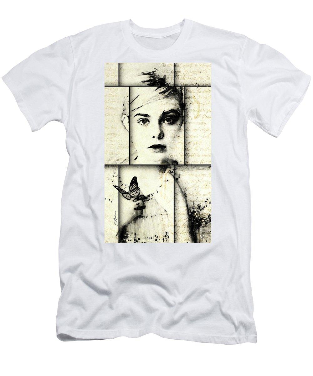 Pretty Face Men's T-Shirt (Athletic Fit) featuring the digital art Eliannah Con Mariposa by Gary Bodnar