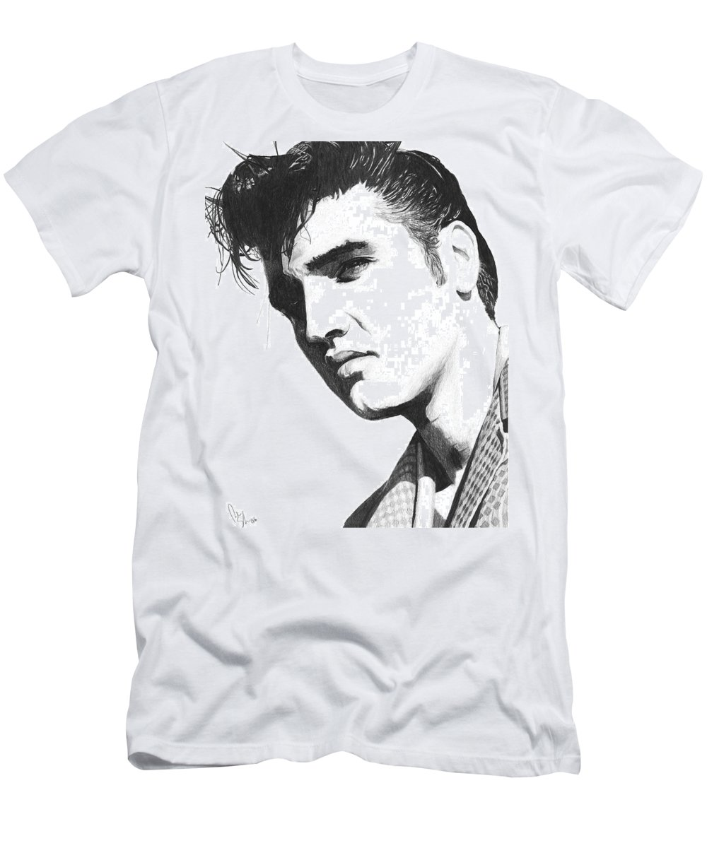 Elvis Drawing Men's T-Shirt (Athletic Fit) featuring the drawing Elvis by Bobby Shaw