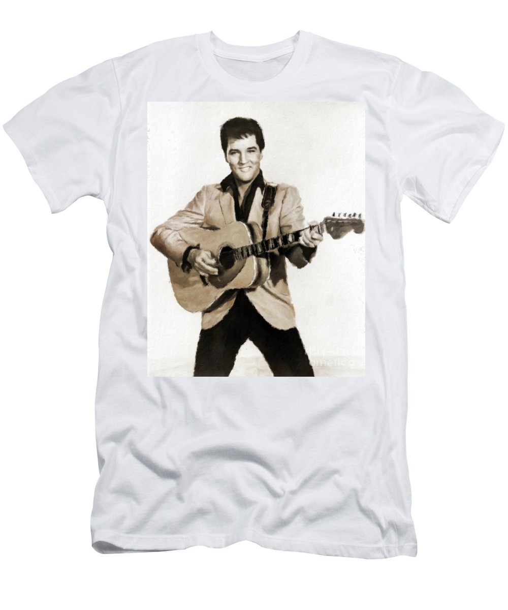 Cinema Men's T-Shirt (Athletic Fit) featuring the painting Elvis Presley By Mb by Mary Bassett