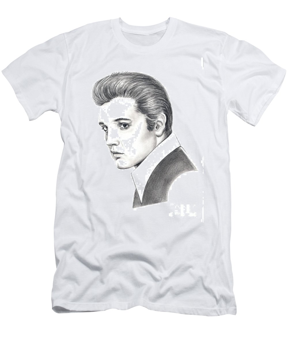 Pencil. Portrait Men's T-Shirt (Athletic Fit) featuring the drawing Elvis Presley by Murphy Elliott