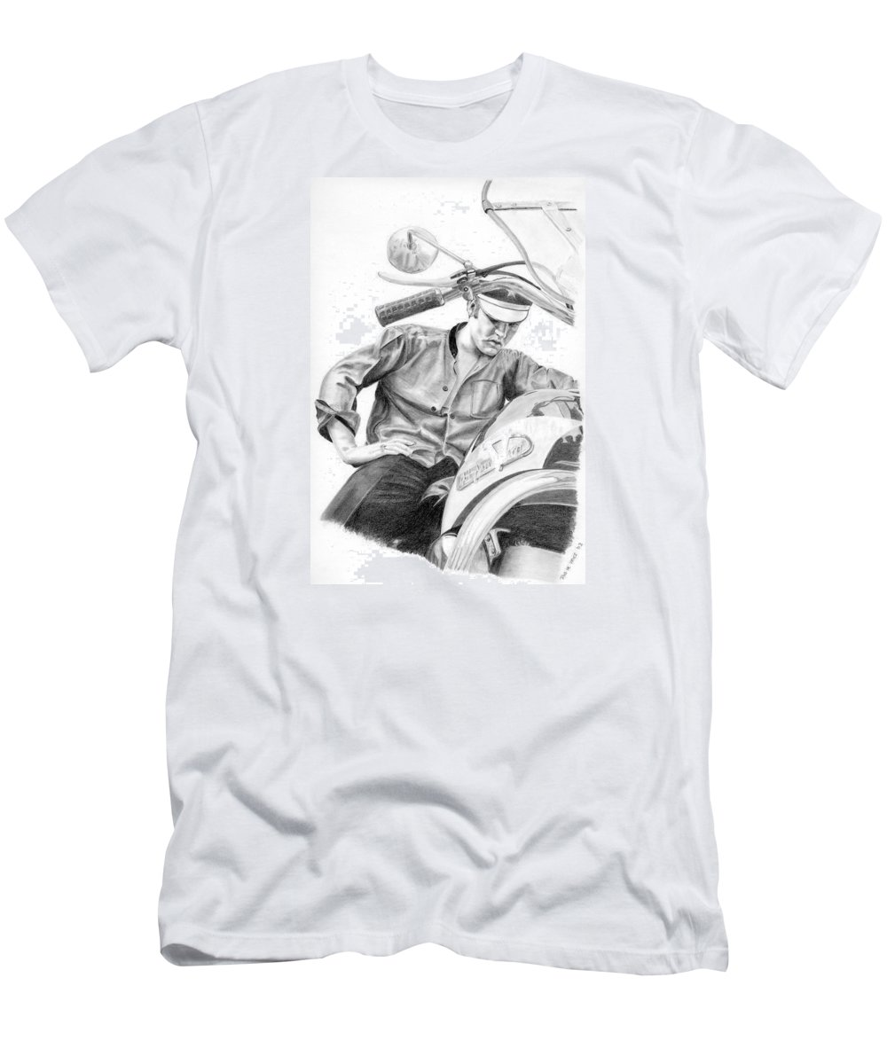 Singer Men's T-Shirt (Athletic Fit) featuring the drawing Elvis Presley by Rob De Vries