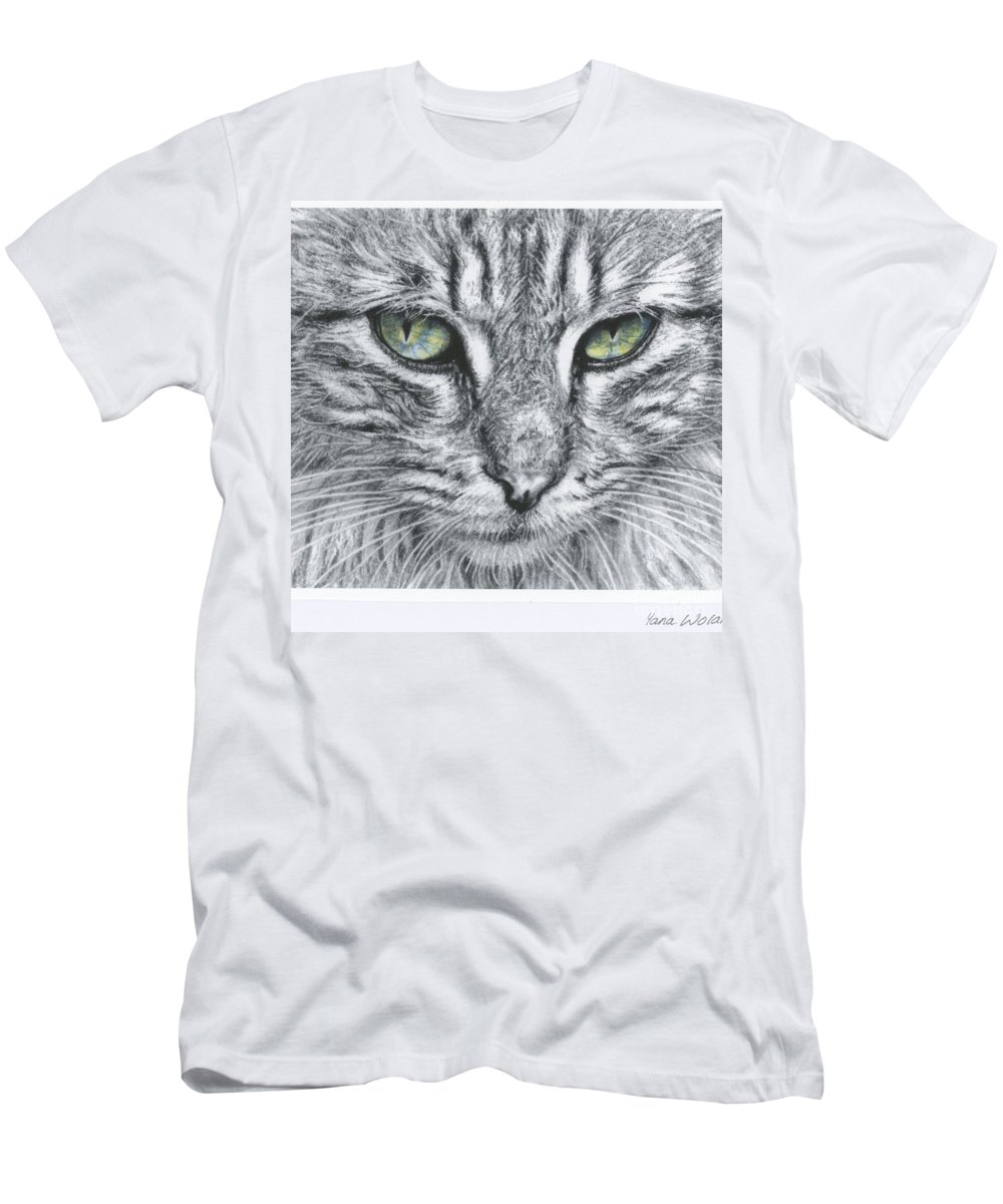 Cat Men's T-Shirt (Athletic Fit) featuring the drawing Emily by Yana Wolanski