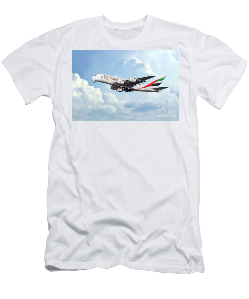 A380 Men's T-Shirt (Athletic Fit) featuring the digital art Emirates A380-800 A6-eer by J Biggadike