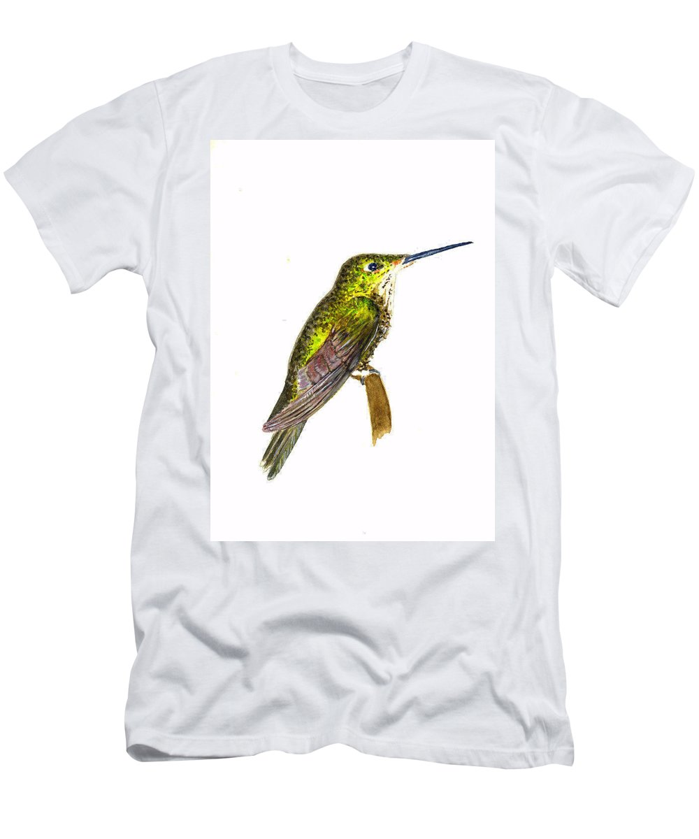 Birds Men's T-Shirt (Athletic Fit) featuring the painting Empress Hummingbird by Michael Vigliotti