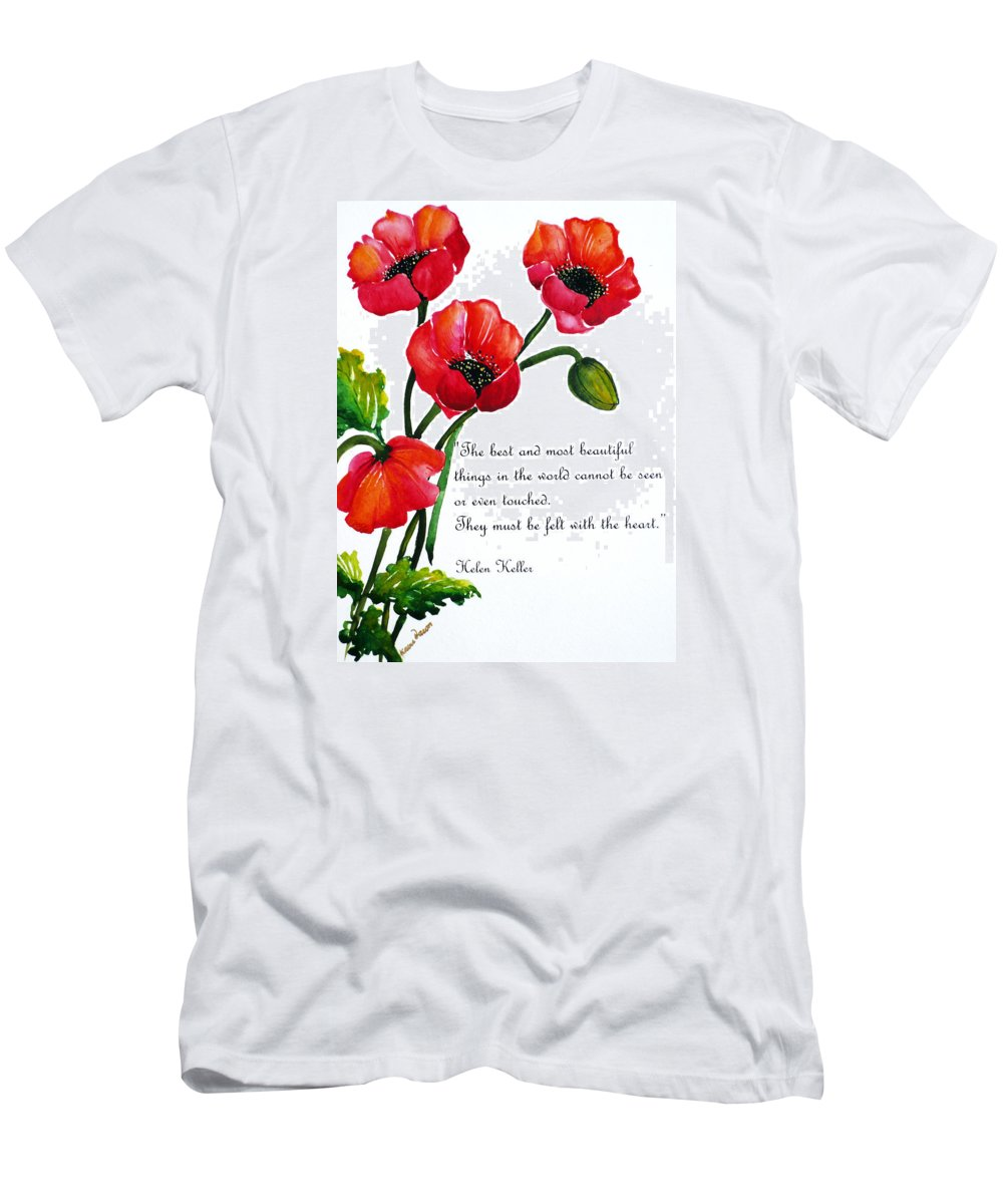 Poppy Painting Men's T-Shirt (Athletic Fit) featuring the painting English Poppy  Poem by Karin Dawn Kelshall- Best