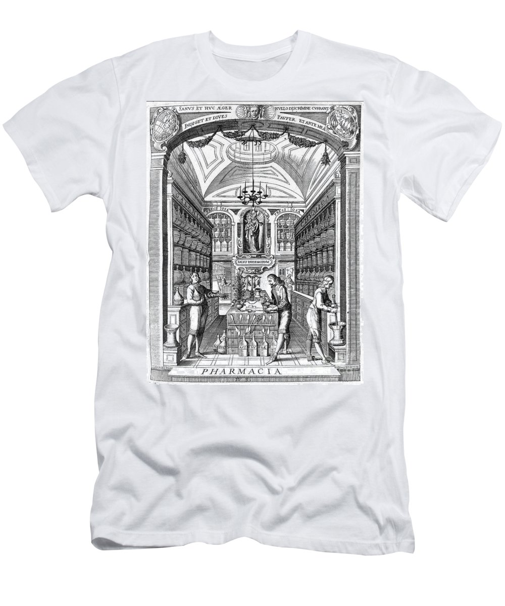 Historic Men's T-Shirt (Athletic Fit) featuring the photograph Engraving Of Pharmacy, Geiger, 1651 by Wellcome Images