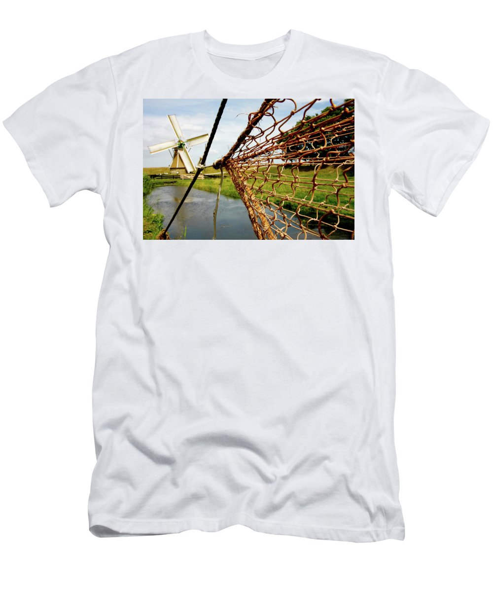 Enkhuizen Men's T-Shirt (Athletic Fit) featuring the photograph Enkhuizen Windmill And Nets by KG Thienemann