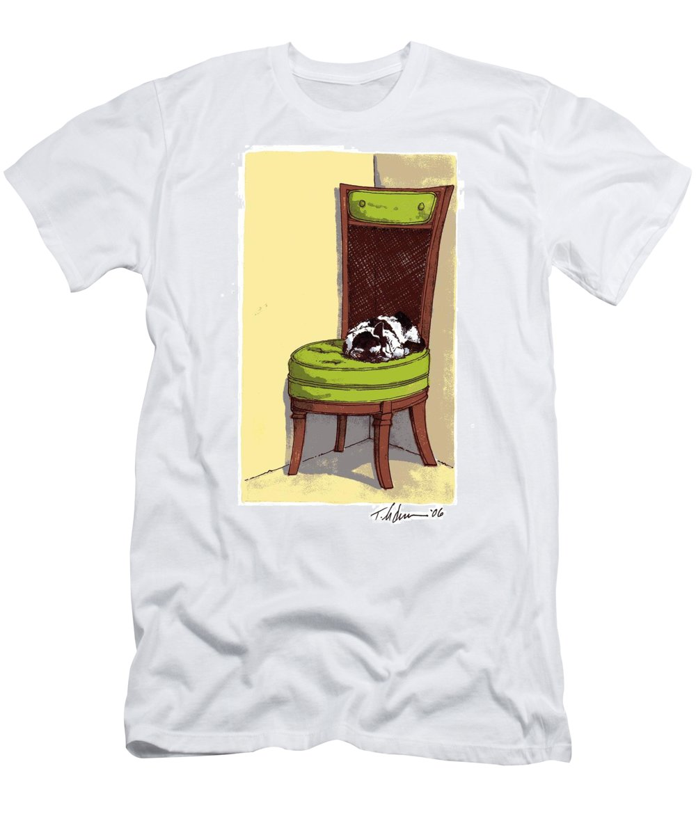 Cat Men's T-Shirt (Athletic Fit) featuring the drawing Ernie And Green Chair by Tobey Anderson
