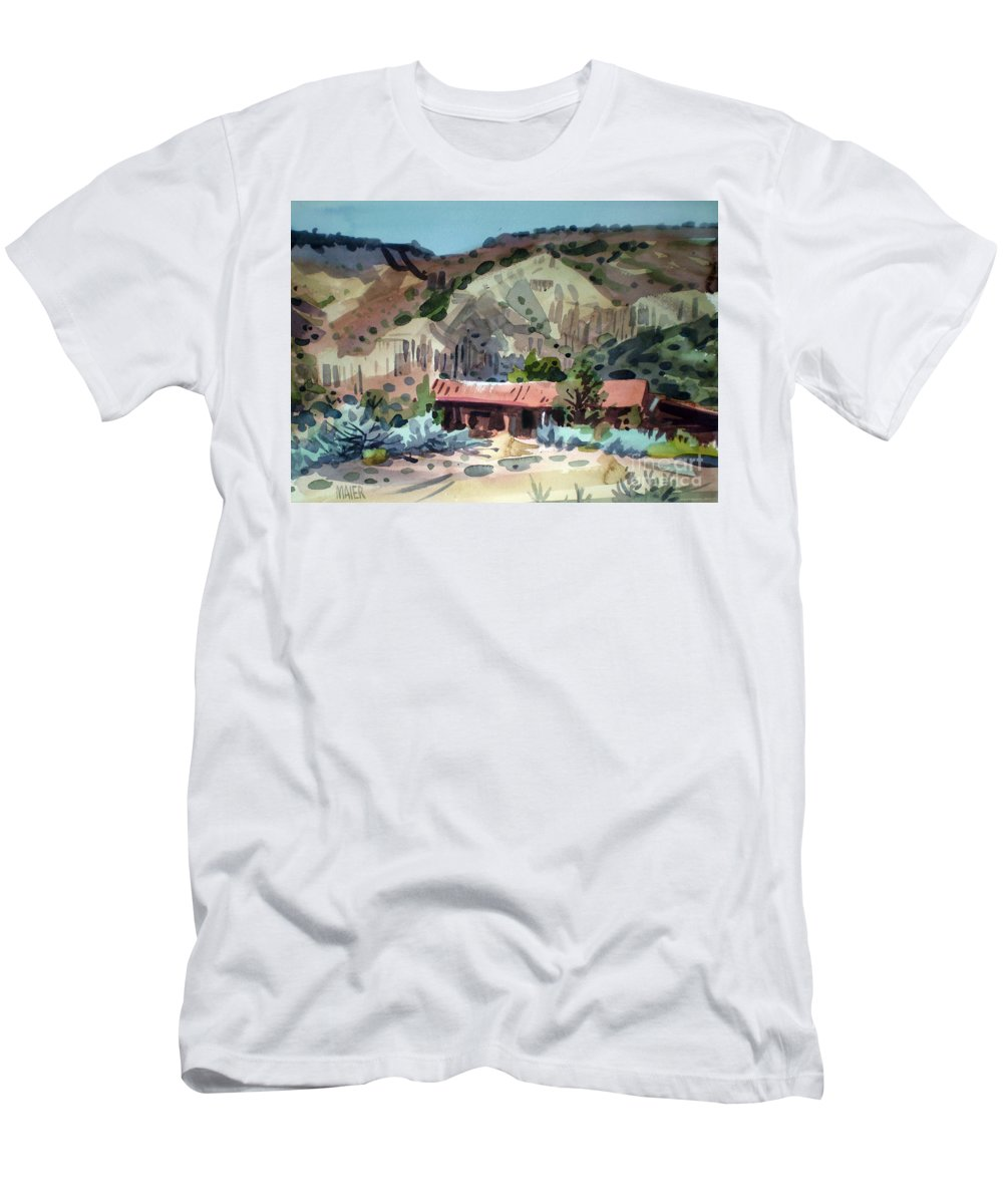 New Mexico Men's T-Shirt (Athletic Fit) featuring the painting Espanola On The Rio Grande by Donald Maier