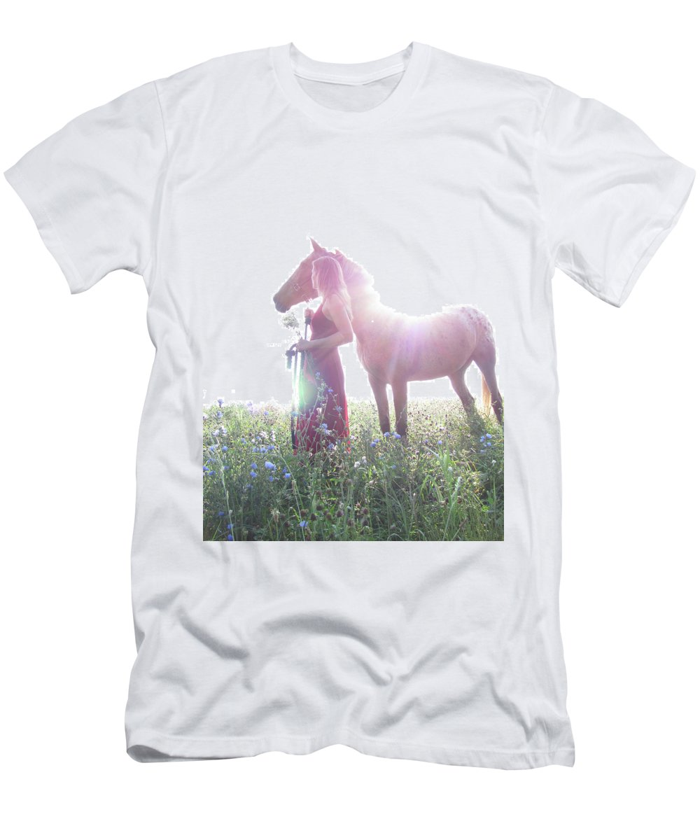 Horse Men's T-Shirt (Athletic Fit) featuring the photograph Ethereal Love by Karen Smith