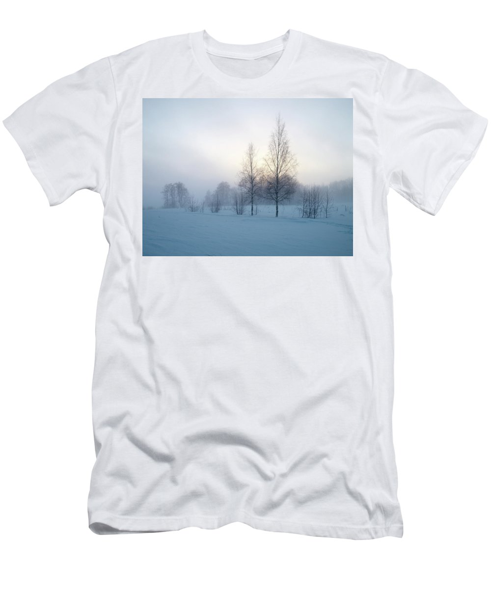 Lehtokukka Men's T-Shirt (Athletic Fit) featuring the photograph Evening Birches by Jouko Lehto