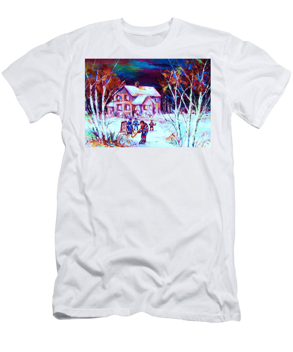 Hockey Game In The Country Men's T-Shirt (Athletic Fit) featuring the painting Evening Game At The Chalet by Carole Spandau