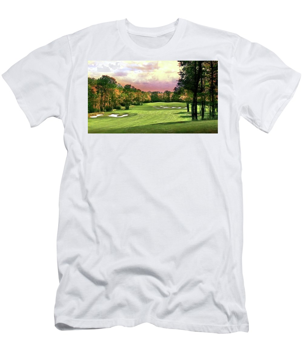 Golf Men's T-Shirt (Athletic Fit) featuring the photograph Evening Golf Course Scene by Michael Forte