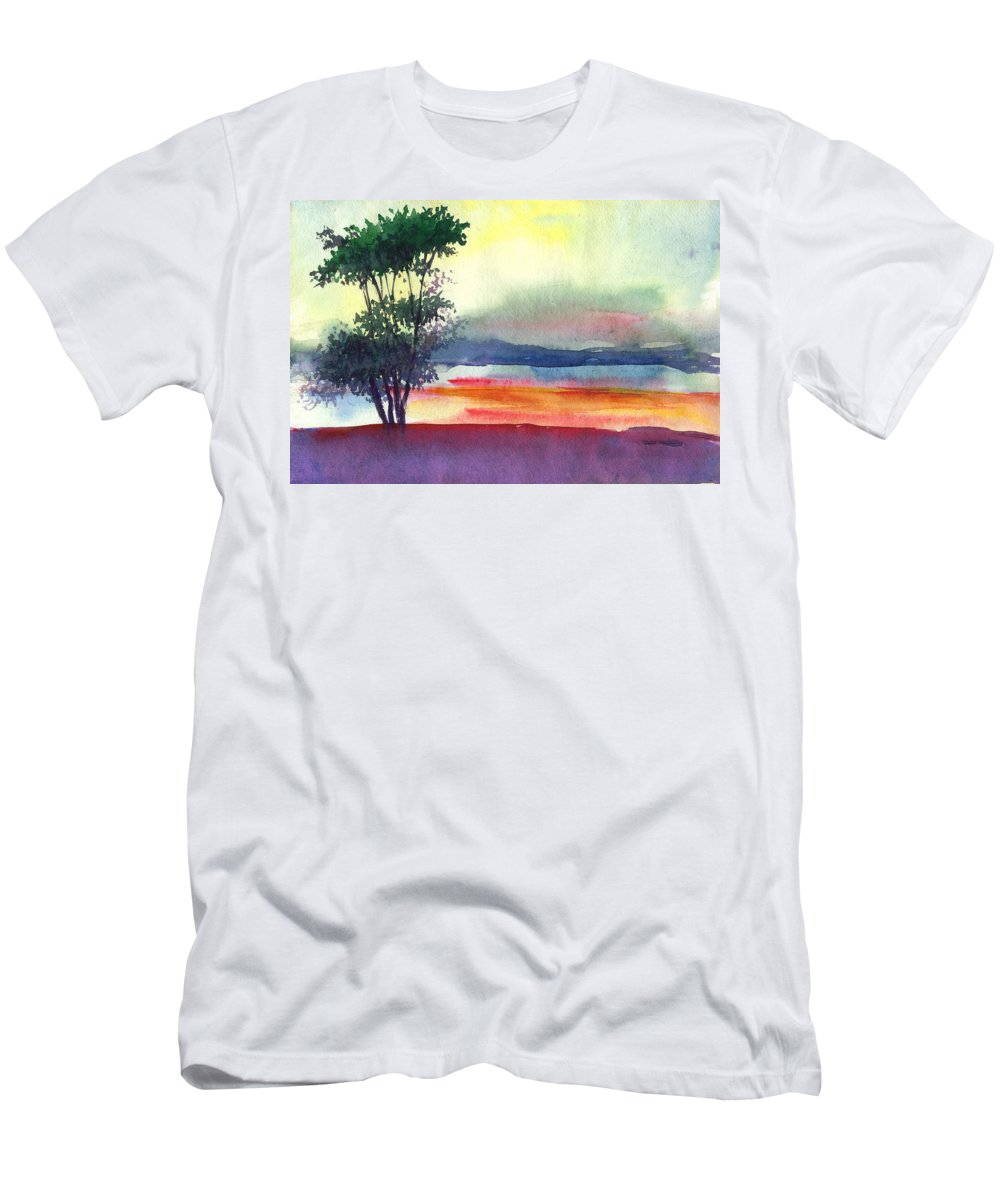 Water Color Men's T-Shirt (Athletic Fit) featuring the painting Evening Lights by Anil Nene
