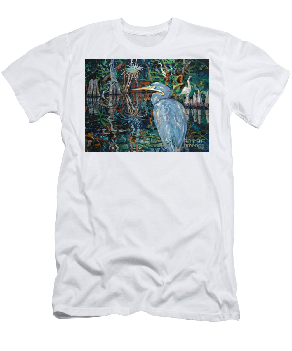 Blue Herron Men's T-Shirt (Athletic Fit) featuring the painting Everglades by Donald Maier