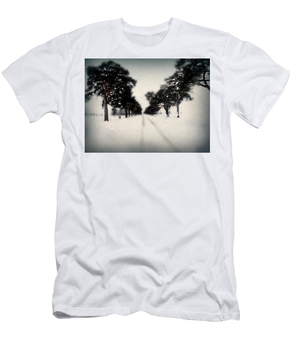 Christmas Card Men's T-Shirt (Athletic Fit) featuring the photograph Evergreen Road by Julie Hamilton