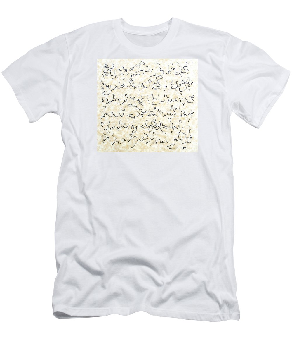 Calligraphy Men's T-Shirt (Athletic Fit) featuring the drawing Executive Summary With Notes by Dave Martsolf