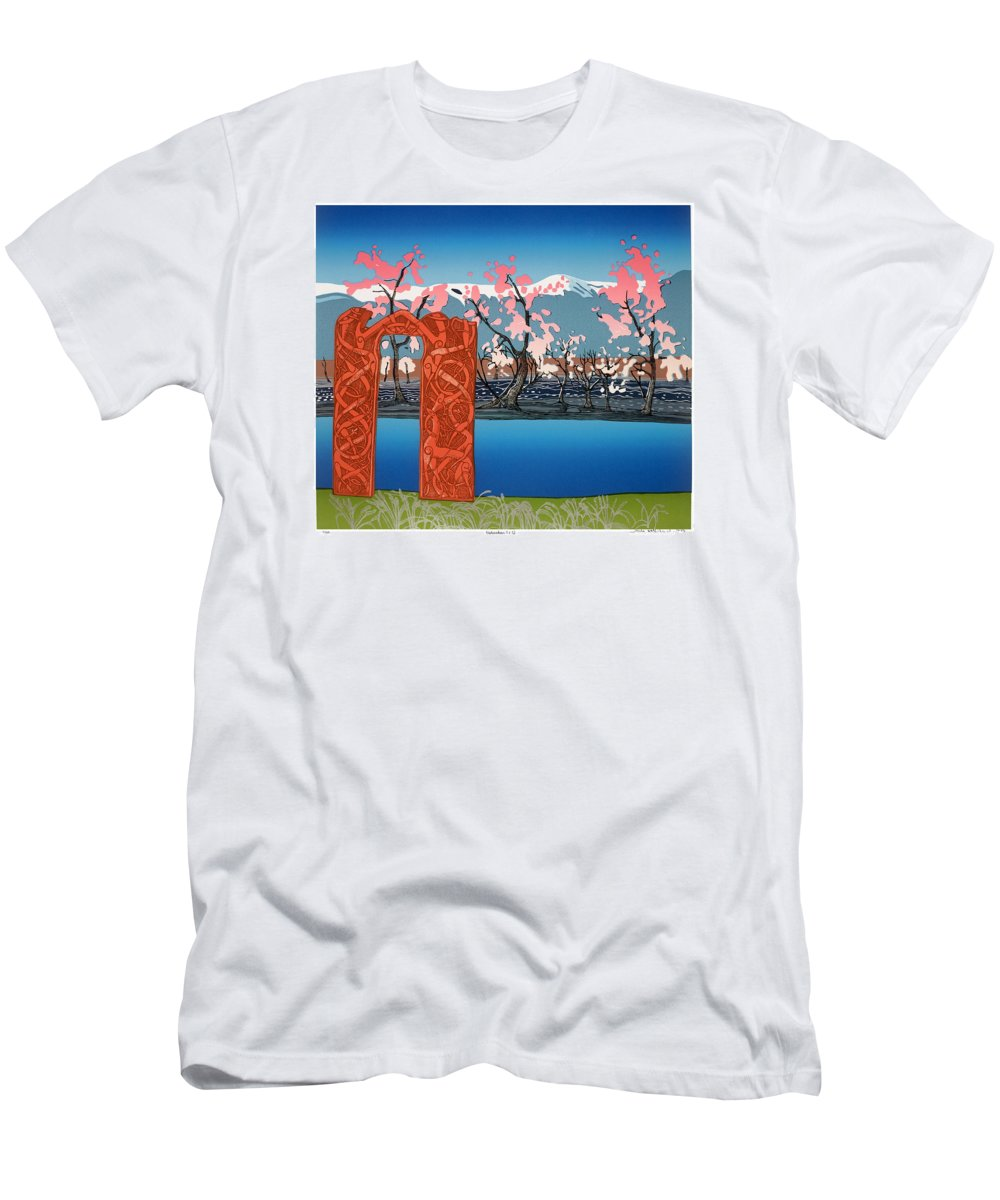 Landscape Men's T-Shirt (Athletic Fit) featuring the mixed media Exploration. by Jarle Rosseland