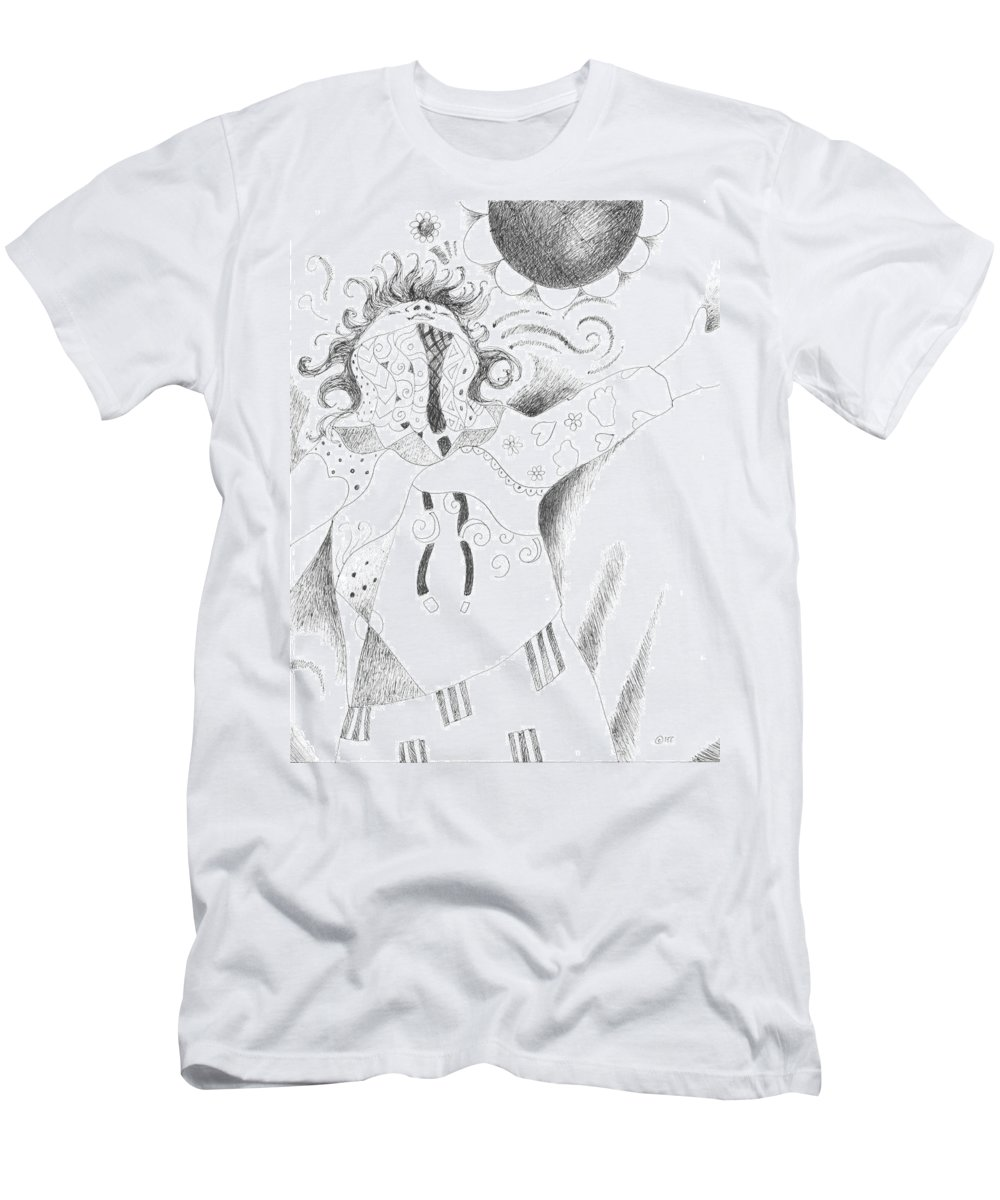 Spirited Men's T-Shirt (Athletic Fit) featuring the drawing Exuberance by Helena Tiainen