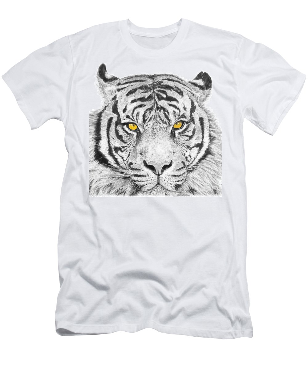 Tiger Men's T-Shirt (Athletic Fit) featuring the drawing Eyes Of The Tiger by Shawn Stallings