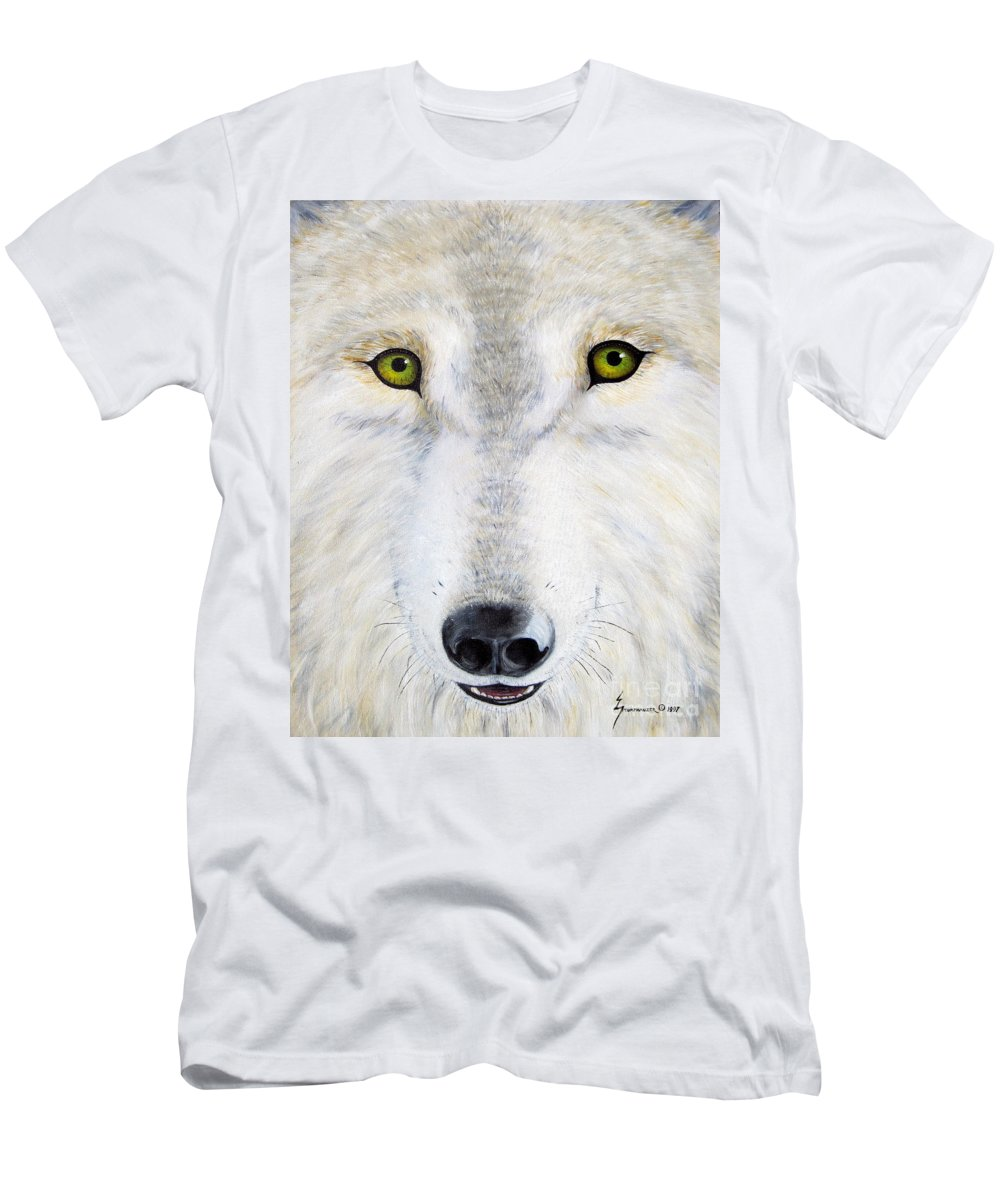 Wolf Men's T-Shirt (Athletic Fit) featuring the painting Eyes Of The Wolf by Jerome Stumphauzer