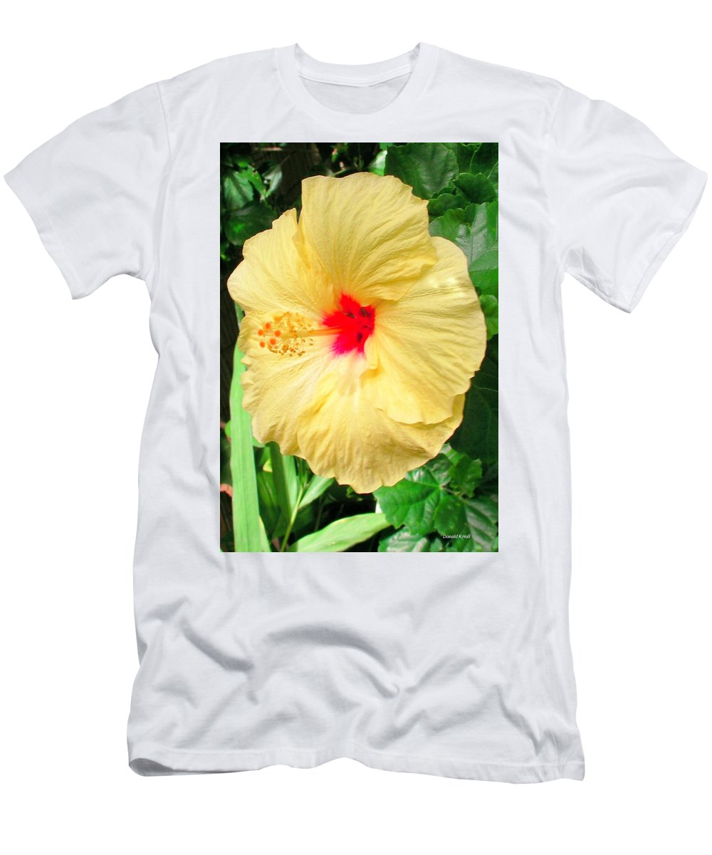 Yellow Hibiscus Men's T-Shirt (Athletic Fit) featuring the photograph F12 Yellow Hibiscus by Donald k Hall