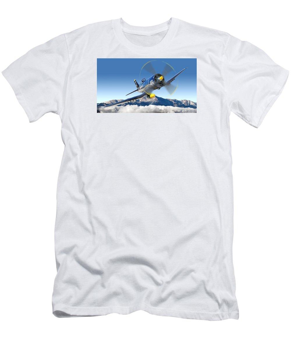 F4-u Corsair Men's T-Shirt (Athletic Fit) featuring the photograph F4-u Corsair by Larry McManus