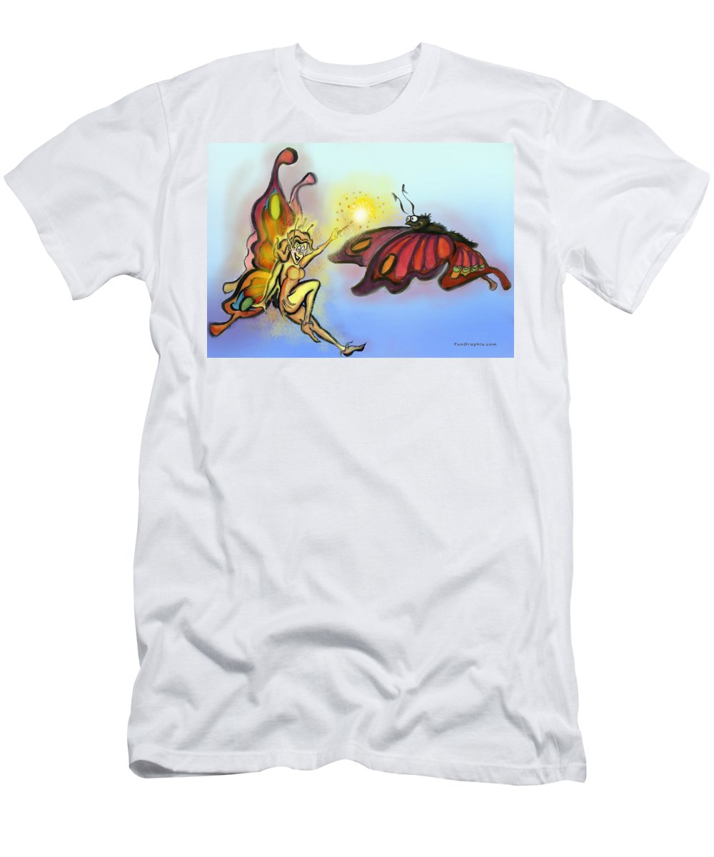 Faerie Men's T-Shirt (Athletic Fit) featuring the painting Faerie N Butterfly by Kevin Middleton