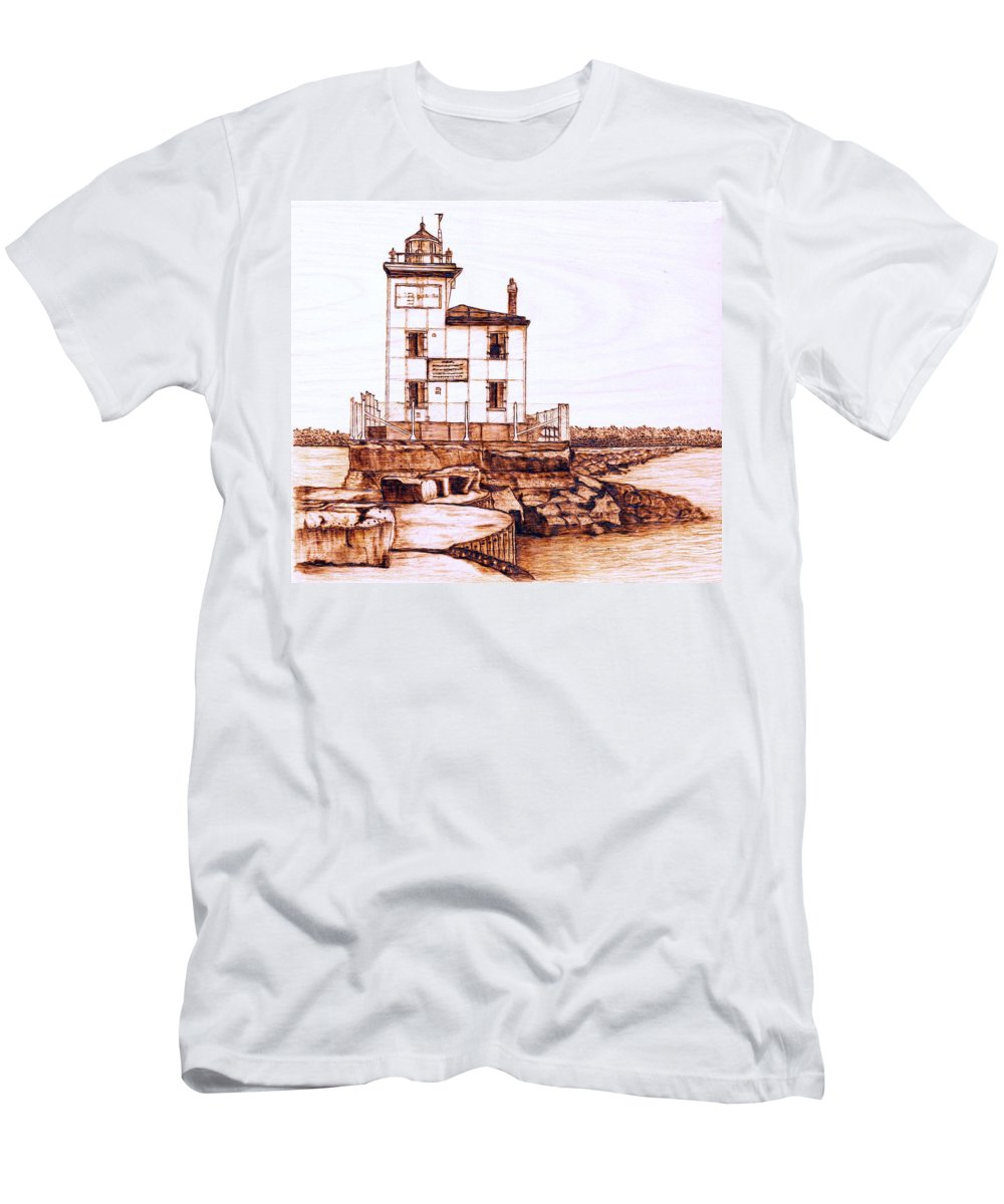Lighthouse Men's T-Shirt (Athletic Fit) featuring the pyrography Fair Port Harbor by Danette Smith