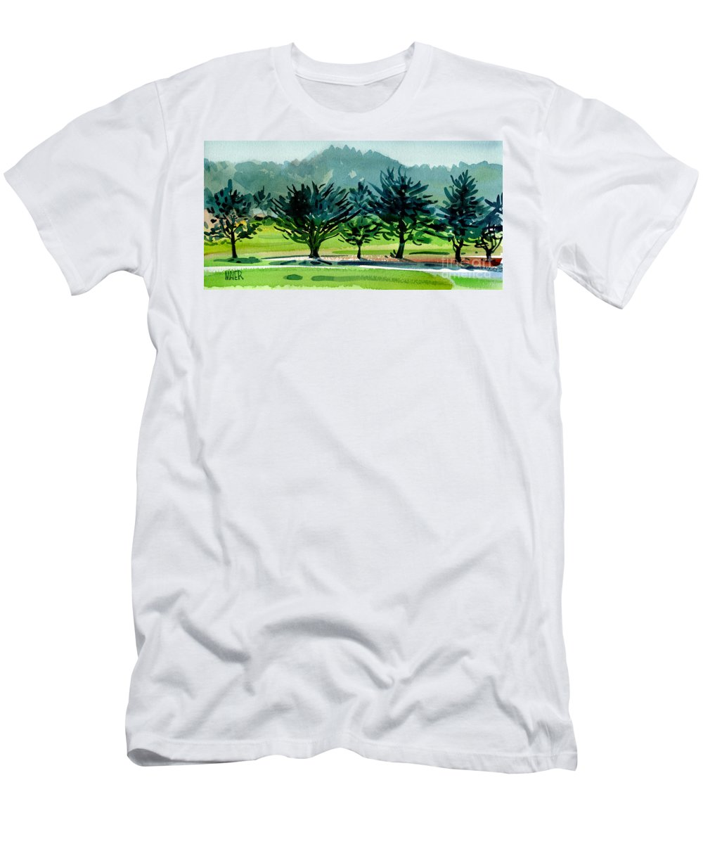 Crystal Springs Men's T-Shirt (Athletic Fit) featuring the painting Fairway Junipers by Donald Maier